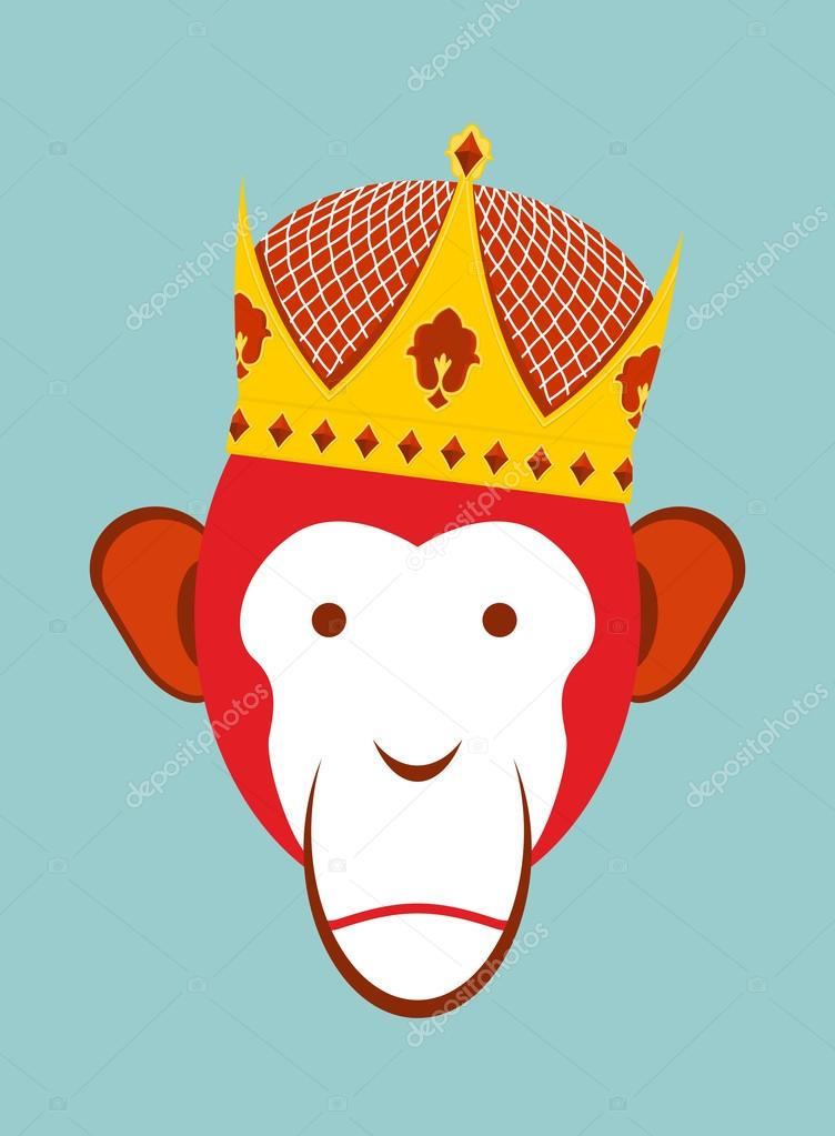 Red Monkey In Imperial Crown Chimpanzee Head Is A Symbol Of Chi