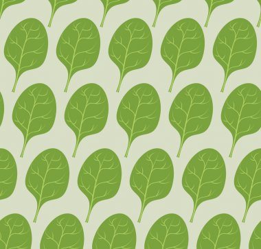 Spinach background. Vector seamless pattern from green leaves of