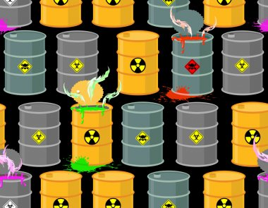 Biohazard seamless pattern. Open barrels of radioactive and toxi