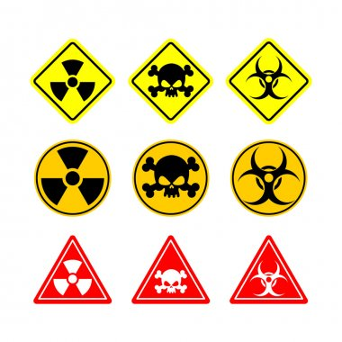 Set sign Biohazard, toxicity, dangerous. Yellow signs of various