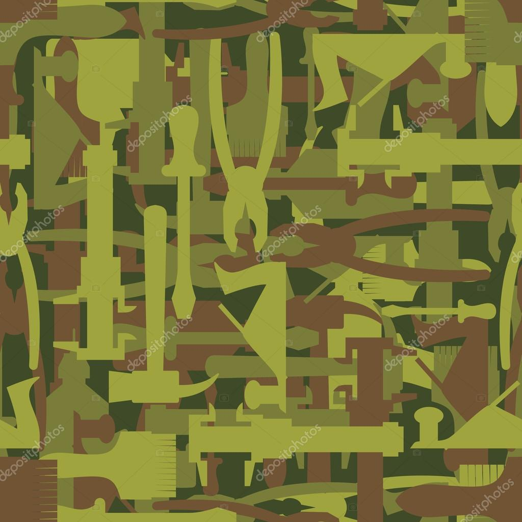 Army pattern tool. Military camouflage texture Vector of hammer,
