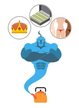 Magical Genie fulfills three wishes: women power and wealth. Fai