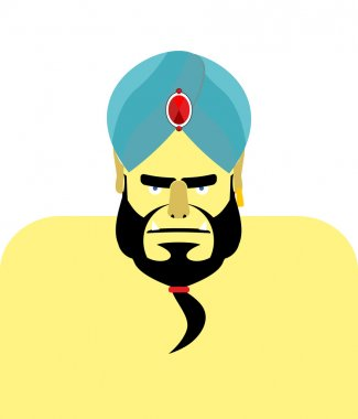 Angry Sheikh turban.  Emir with beard. Blue turban is decorated
