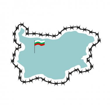 Map Of Bulgaria. Map of States with barbed wire. Country closes