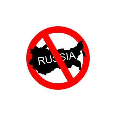 Russia banned. Stop Russian aggressors. Red forbidding sign for