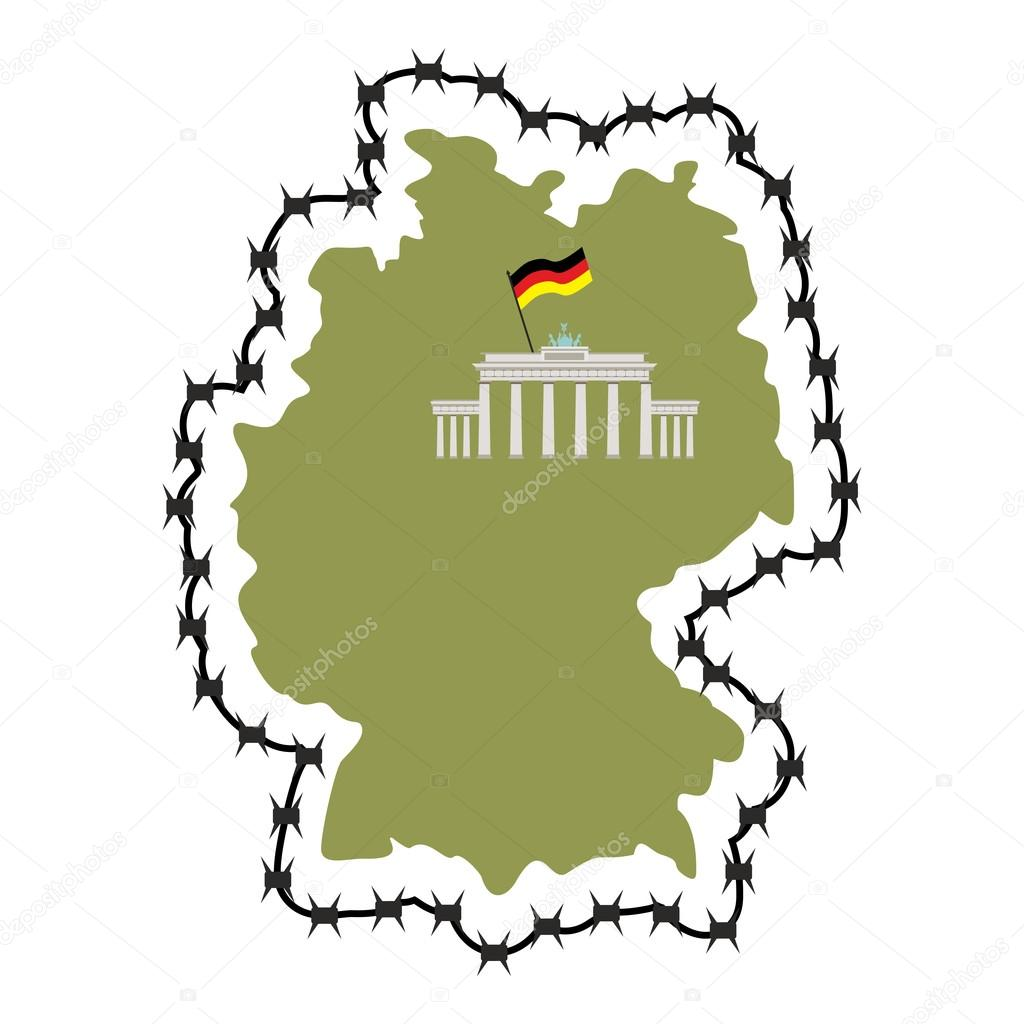 Map Of Germany. Map of States with barbed wire. Country closes b