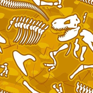 Dinosaur bones seamless background. Pattern of skeleton of ancie