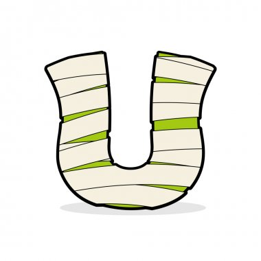 Letter U Monster zombie. Alphabetical icon medical bandages. Egy