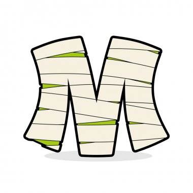Letter M Mummy. Typography icon in bandages. Horrible Egyptian