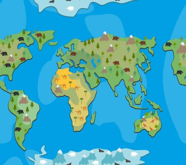 World map with animals and trees seamless pattern. Background ge