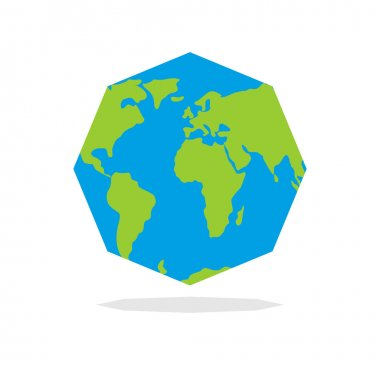 Octagon Planta  earth. World map in geometric figure.