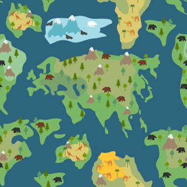 Continents seamless pattern. World map is endless ornament. Geog