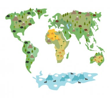 Map of  world with animals and trees. Geographic map of  globe w