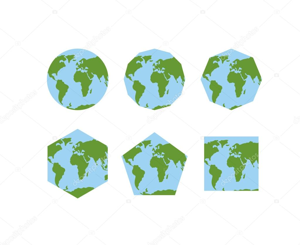 Set of geometric shapes of world atlases. Map of planet earth .
