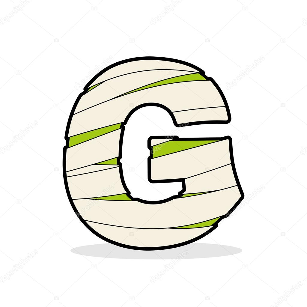 letter g mummy typography icon in bandages egyptian zombie tem