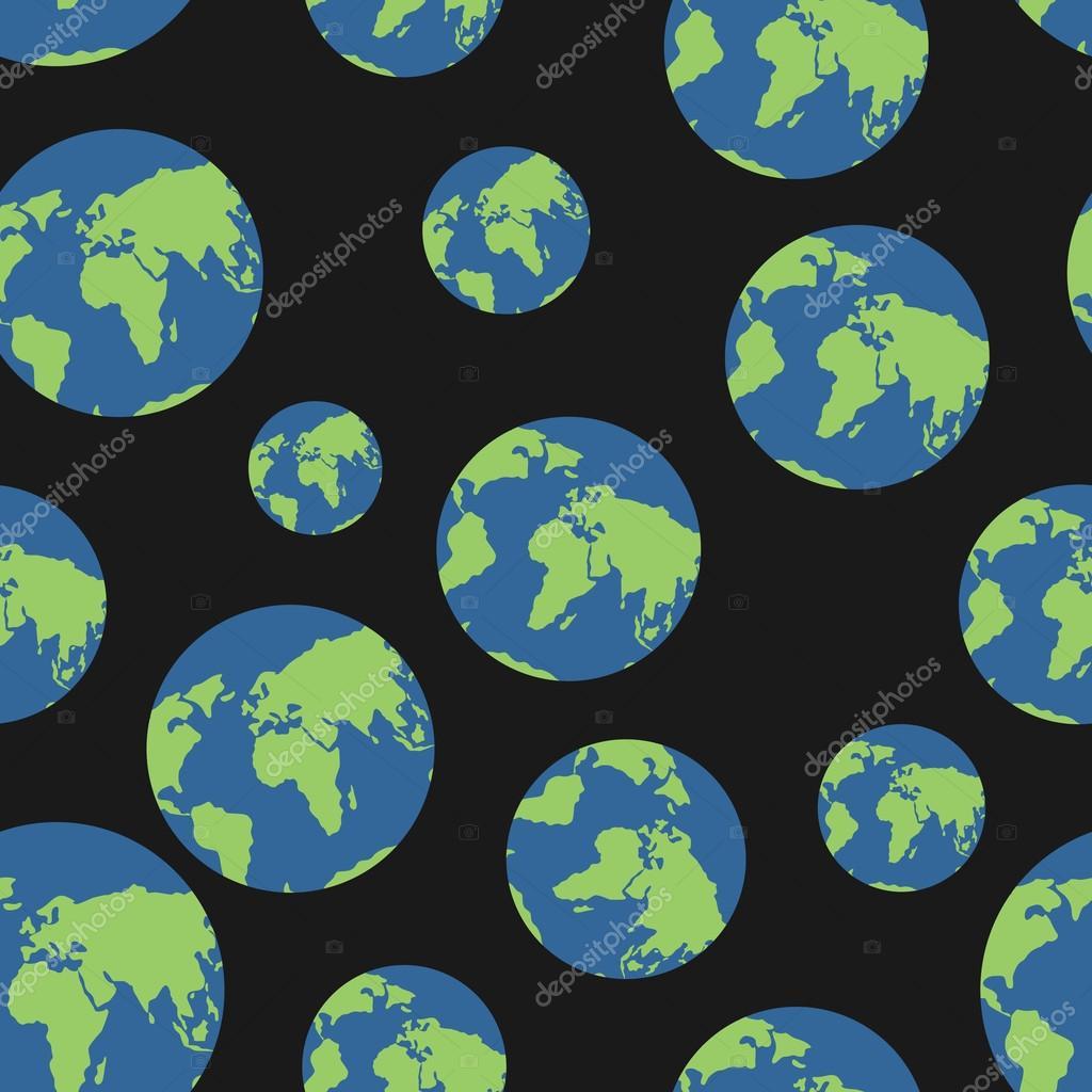 Globe seamless pattern. Globes of earth background. Planets o  b