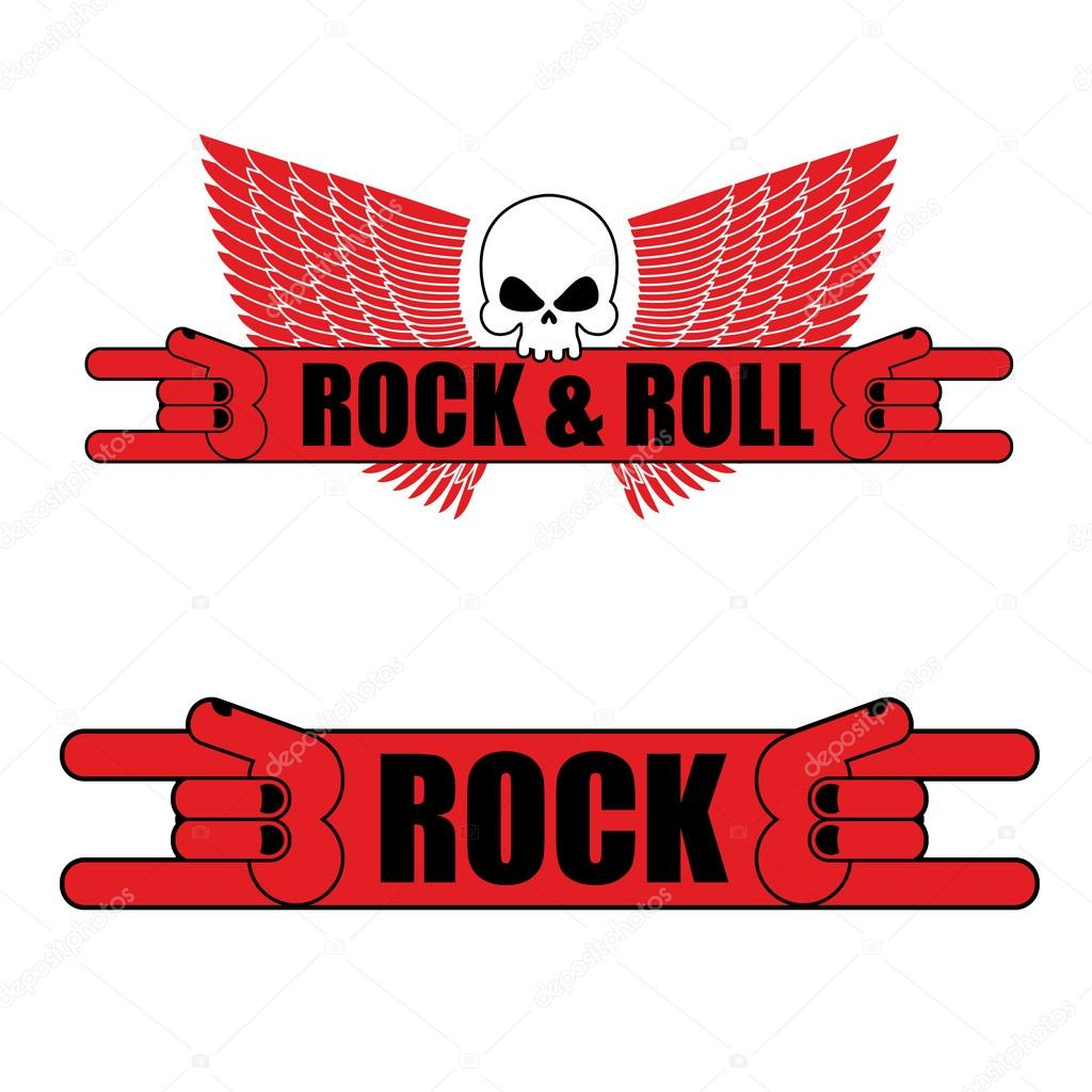 Rock and roll logo. Rock hand sign and wings. Logo for  music fe