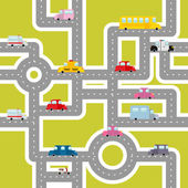 Photo Road and transport seamless pattern. Cartoon map of cars and tra