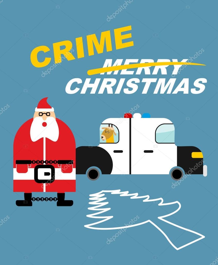Weihnachten In Handschellen.Kriminalität Weihnachten Santa Claus In Handschellen Hirsche Sitzt