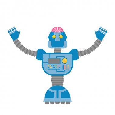 Robot. Cybernetic mechanism with  human brain. Clever cyborg.