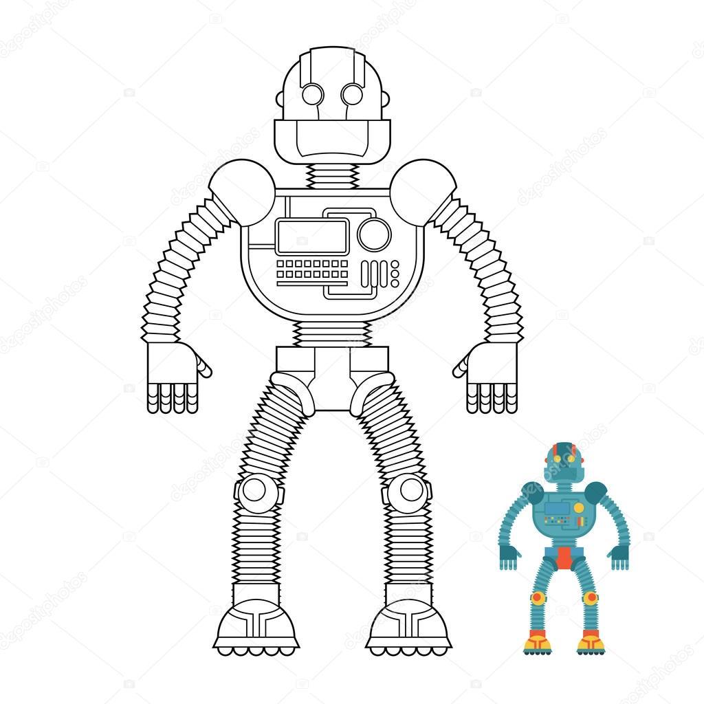 Robot coloring book. Cyborg - technological machine. Humanoid ma ...