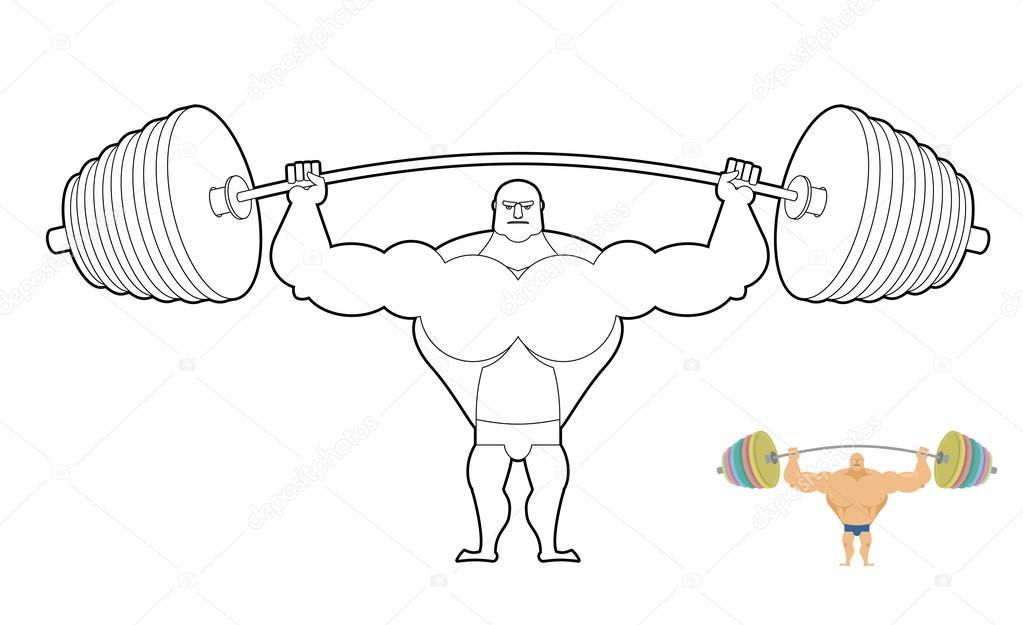 спортсмен штанга книжка раскраска Bodybuilder уборочной