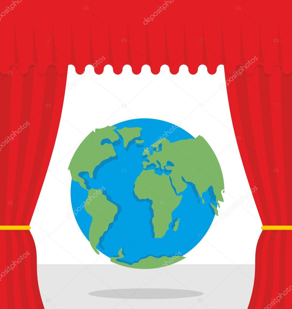 World scene. Red curtain opens Earth. Theatrical presentation by
