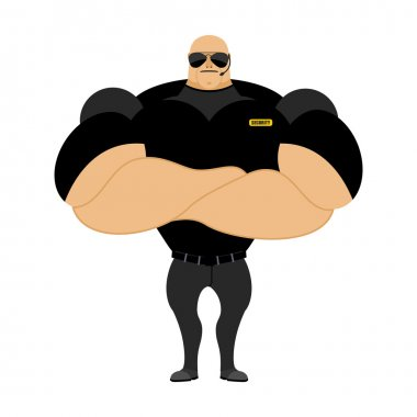 Big and strong security guard. Man with big muscles. Security gu
