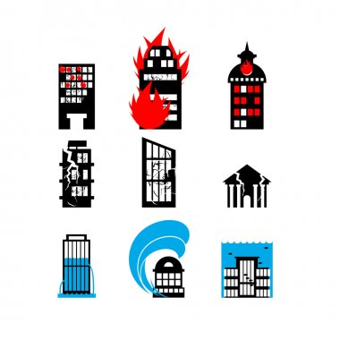 Disaster icon collection. Fire, earthquake and flood. Destroyed