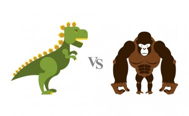 Godzilla vs King Kong. Battle monsters. Big wild monkey and scar