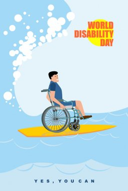 World Disabilities day. Man in wheelchair floats on Board for su