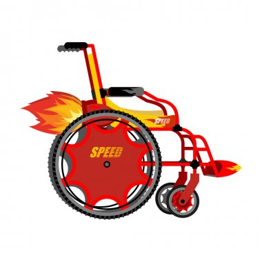 High-speed wheelchair. Chair for disabled with Turbo acceleratio