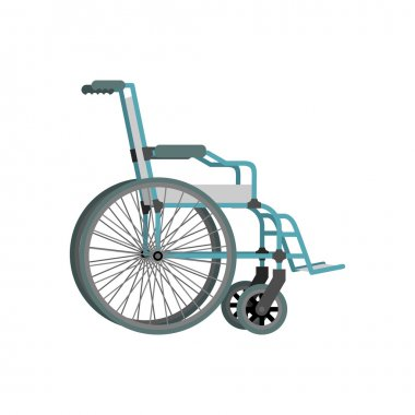Wheelchair on white background.  Means of transportation for peo