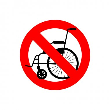 Stop wheelchair. Prohibited disability. Ban for people with disa
