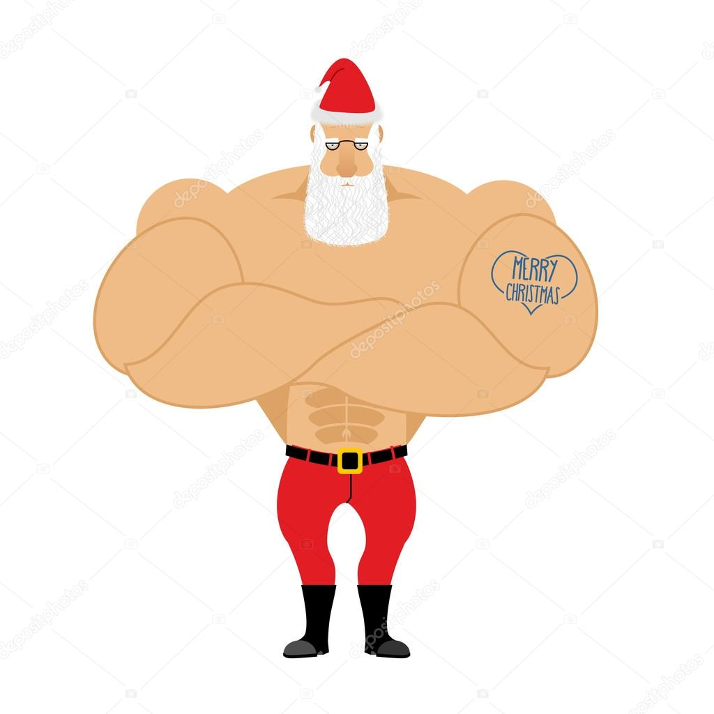 Strong Santa Claus. Santa with big muscles. Old bodybuilder with
