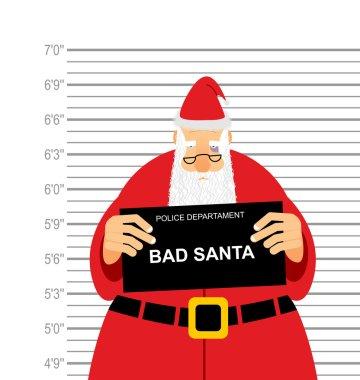 Mugshot is bad Santa. Arrested Sana Claus at  police station hol