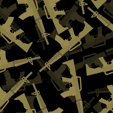 Military M16 rifle seamless pattern. 3d background of machines g