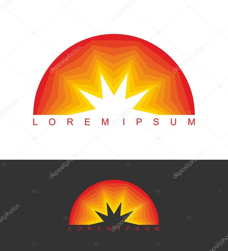 Sunrise logo. Dawn emblem. Business template logo for company. A