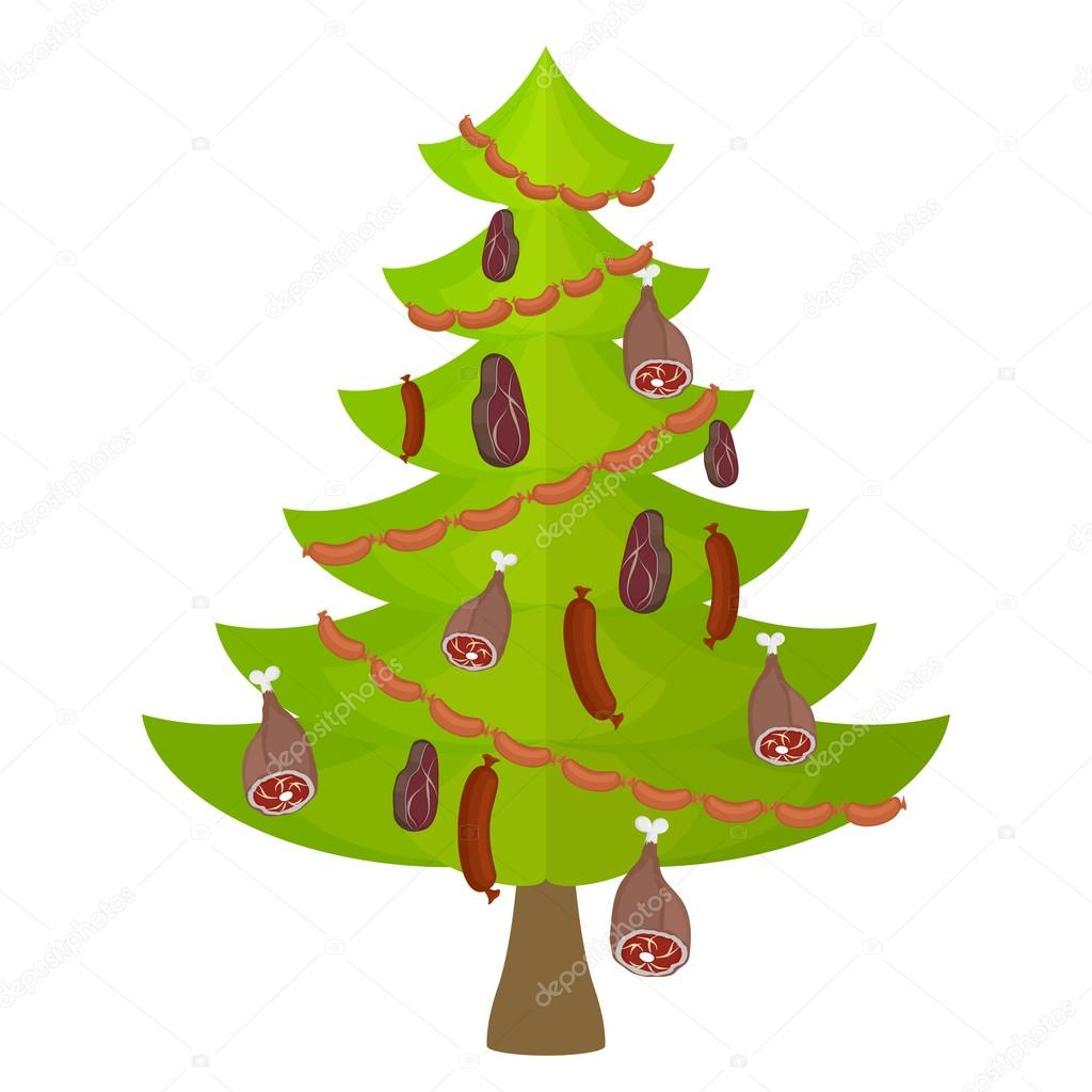 Tree meat food and delicacy. Christmas tree decorated with Garla