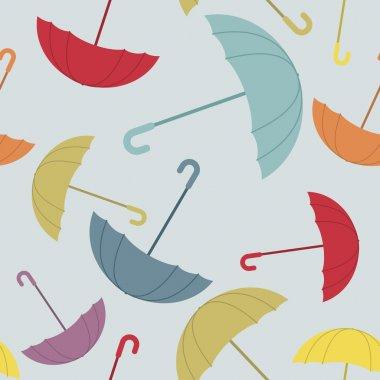 Umbrella seamless pattern. Many of colour opened umbrellas. Cute