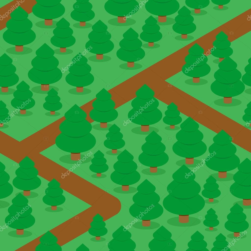 Forest seamless pattern. Spruce thicket natural background. Fore