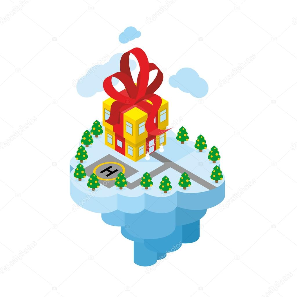 Flying residence of Santa Claus. Building gift - secret Office o