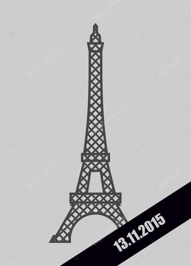 Eiffel Tower black Mourning Ribbon. November 13, 2015. Grief for