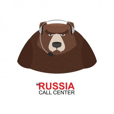 Russia call center. Bear responds to phone calls. Wild animal an