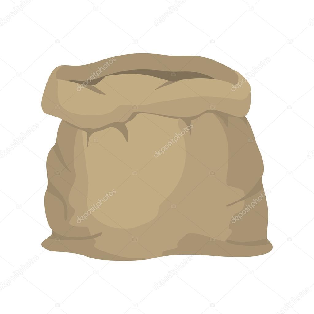 Empty burlap sack. Empty bag. Bag made of cloth. Beige Bag on