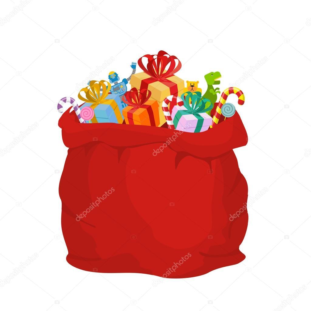 Bag with gifts Santa Claus. Big Red festive holiday bag. Many gi