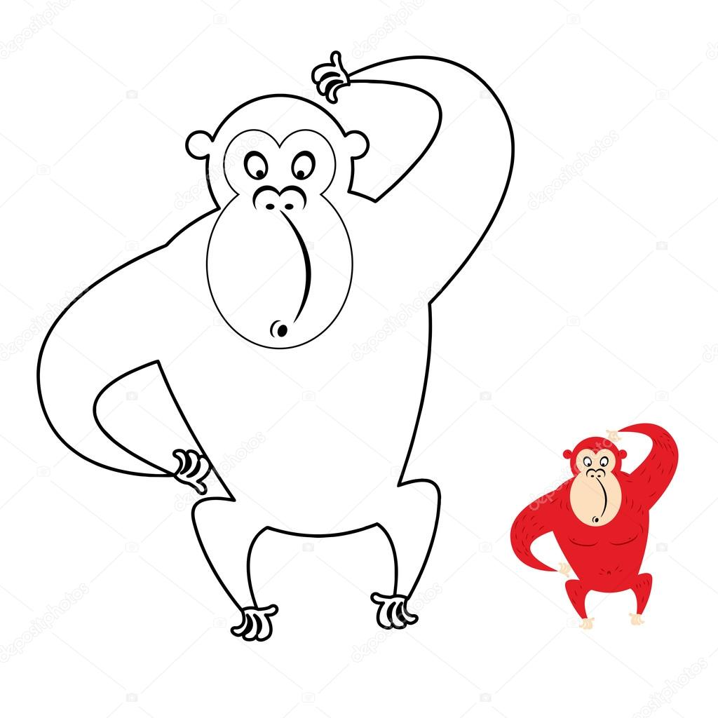Libro para colorear de mono. Mono rojo hace boca de sorpresa ...