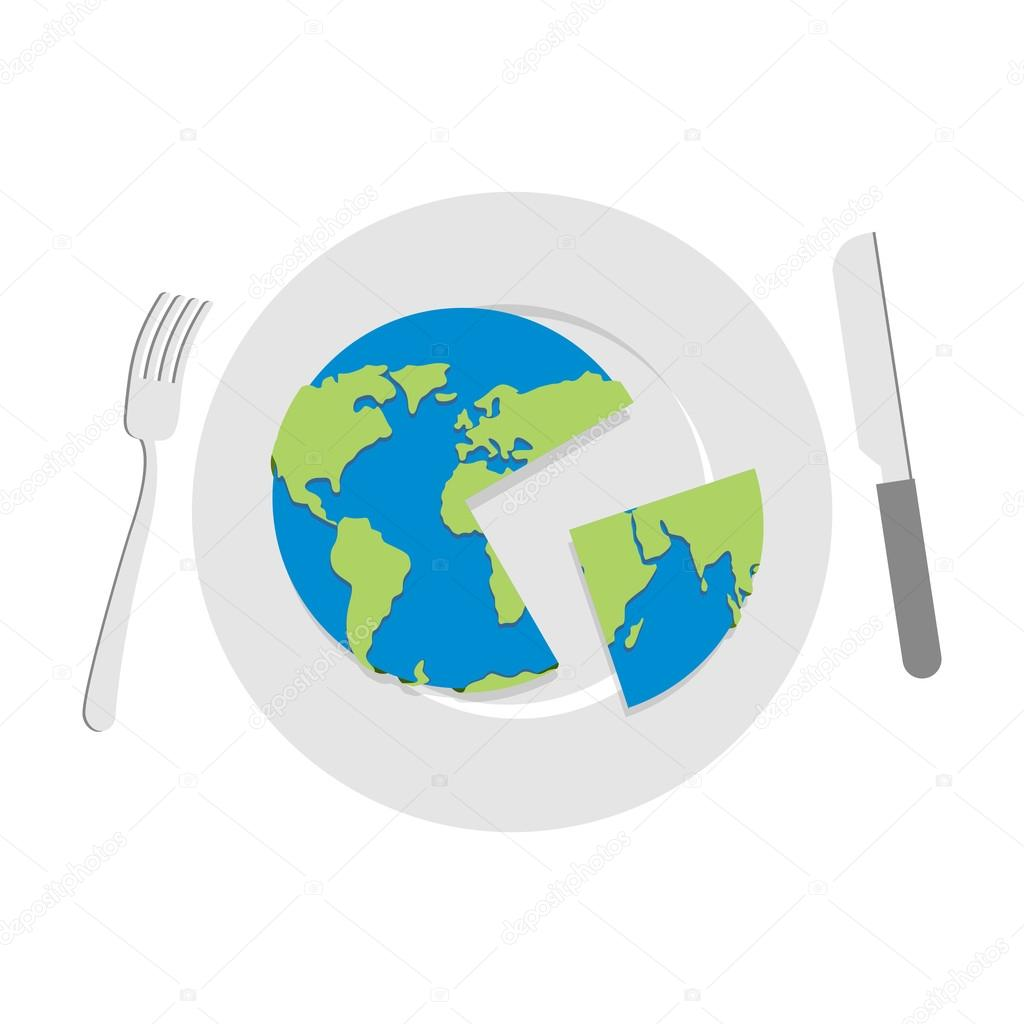 Earth on plate. Globe cut with a knife. Cutlery: knife and fork.