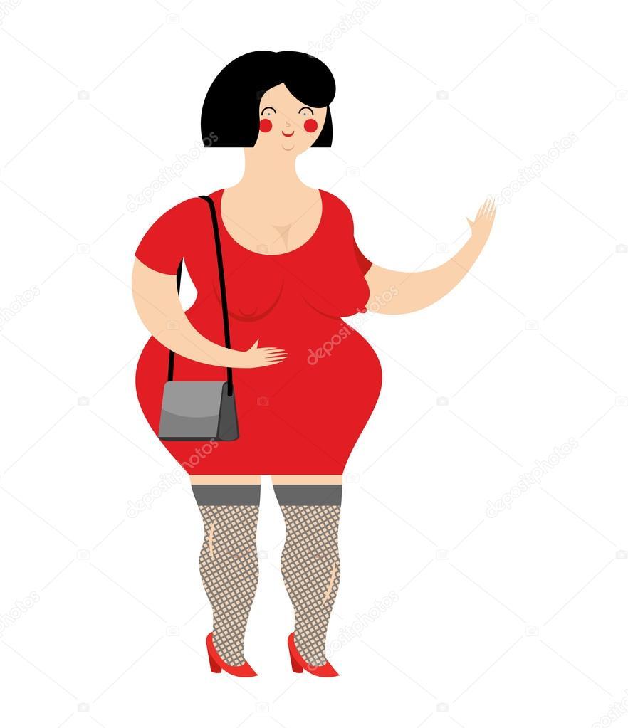 Divertido Prostituta Gordo Vestido De Rojo Puta Con El
