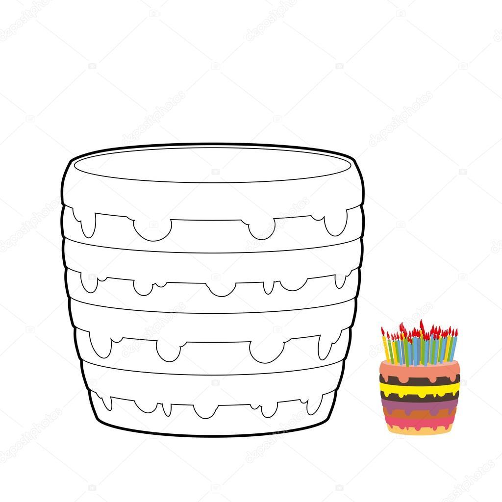 Livre de coloriage g¢teau Confiserie pour anniversaire Douceur pour des vacances G¢teau d anniversaire multicouche avec des bougies Couleur cr¨me